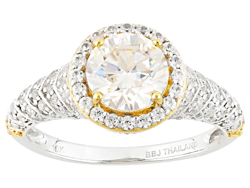 Photo of 1.75ct Lab Strontium Titanate,.54ctw White Zircon & .06ctw Yellow Diamond Accent 10k White Gold Ring - Size 8