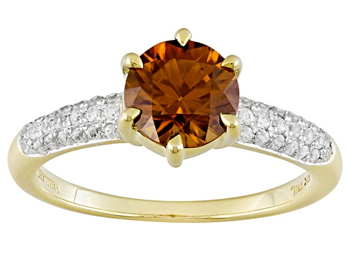 Photo of 1.65ct Round Sienna Zircon With .21ctw Round White Zircon 10k Yellow Gold Ring - Size 8