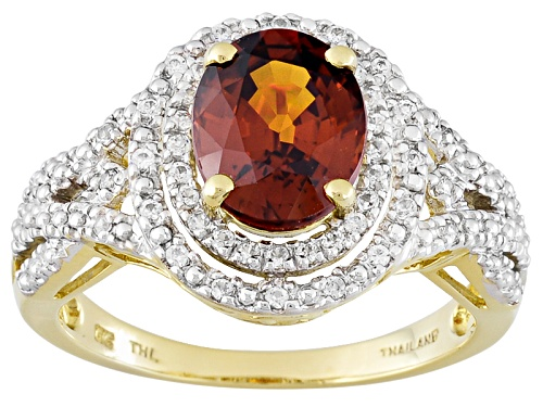 Photo of 2.50ct Oval Sienna Zircon With .25ctw Round White Zircon 10k Yellow Gold Ring - Size 8