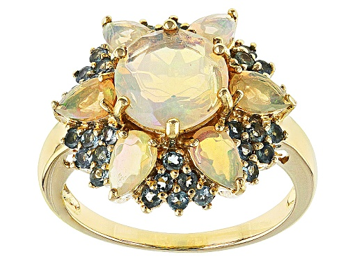 Photo of .94ct Round And .61ctw Pear Shape Ethiopian Opal With .44ctw Orissa Alexandrite 10k Yellow Gold Ring - Size 8