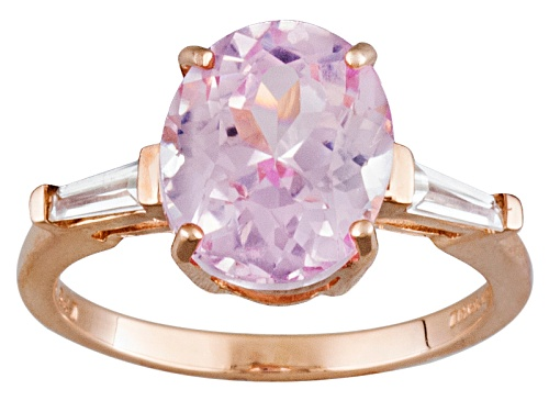 Photo of 4.69ct Oval Kunzite And .57ctw Tapered Baguette White Zircon 10k Rose Gold Ring - Size 12