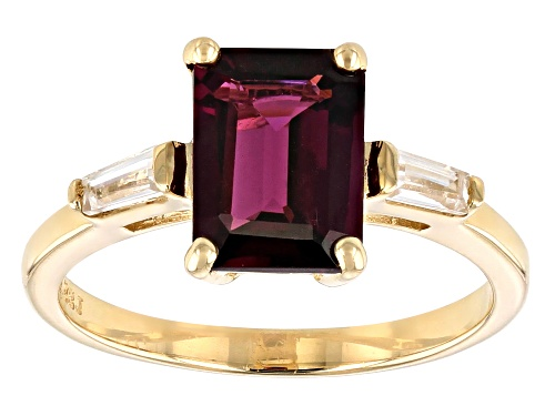 Photo of 2.76ct Emerald Cut Grape Color Garnet And .27ctw White Zircon 10k Yellow Gold Ring - Size 9
