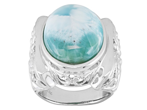Photo of Oval Cabochon Larimar Solitaire Sterling Silver Ring - Size 5