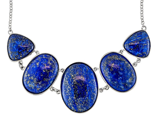 Photo of Oval And Trillion Cabochon Lapis Sterling Silver Necklace - Size 18