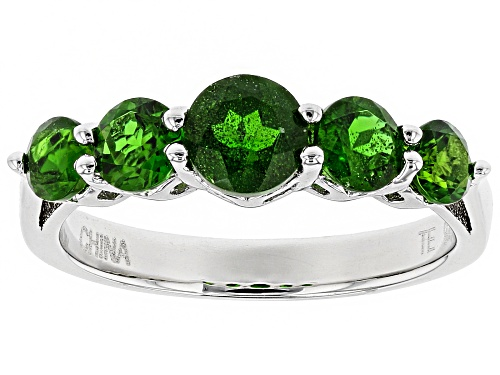 1.32ctw Round Russian Chrome Diopside Sterling Silver 5-Stone Ring - Size 12