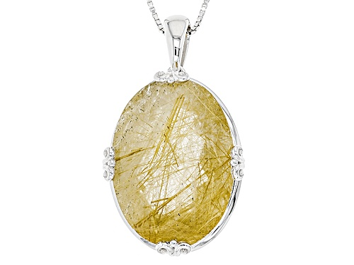 Photo of 23.58ct Oval Brazilian Rutilated Quartz Sterling Silver Solitaire Pendant With Chain