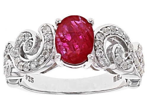 Photo of 1.17ct Oval Mozambique Ruby With .44ctw Round White Zircon Sterling Silver Ring - Size 8