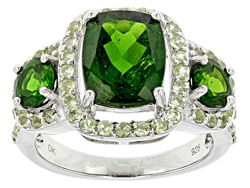 Photo of 3.81ctw Mixed Shape Russian Chrome Diopside With .81ctw Round Manchurian Peridot™ Silver Ring - Size 5