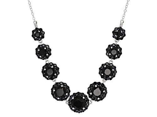 Photo of 8.57ctw Graduated 2mm-8mm Round Black Spinel Sterling Silver Necklace - Size 18