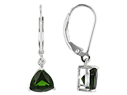 Photo of 2.28ctw Trillion Russian Chrome Diopside Sterling Silver Dangle Earrings