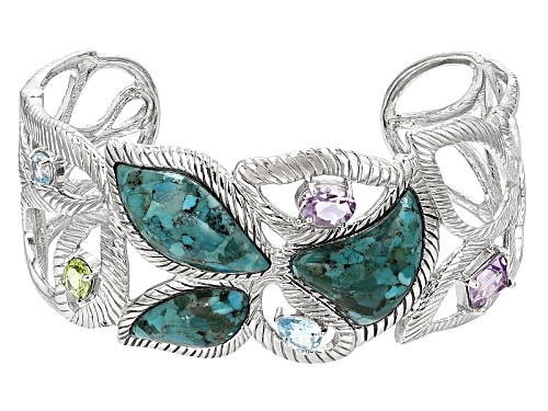 Photo of Free Form Turquoise With 4.18ctw Glacier Topaz™, Amethyst And Manchurian Peridot™ Silver Cuff - Size 8