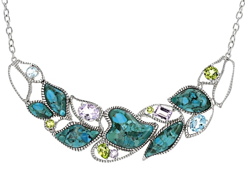 Photo of Free Form Turquoise With 5.96ctw Glacier Topaz™, Amethyst & Manchurian Peridot™Silver Necklace - Size 18