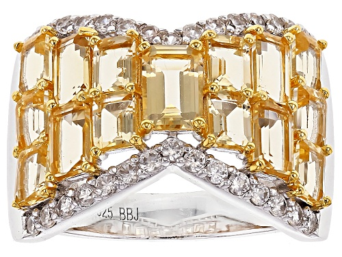 Photo of 3.43ctw Emerald Cut Brazilian Citrine With .54ctw Round White Zircon Sterling Silver Band Ring - Size 7