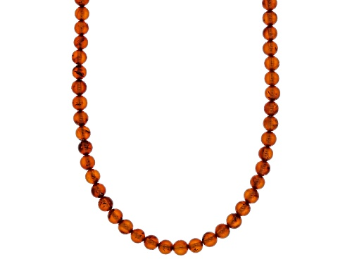 Photo of 4mm Round Amber Bead Strand Sterling Silver Necklace - Size 20