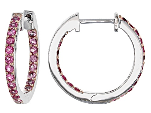 Photo of .88ctw Round Burmese Pink Spinel Rhodium Over Sterling Silver Inside/Outside Hoop Earrings