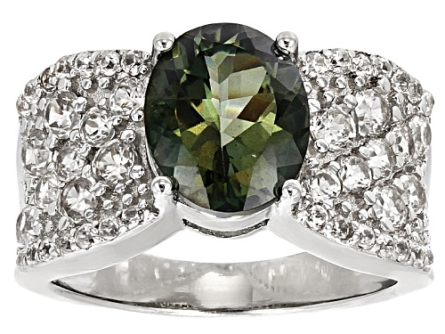 Photo of 1.96ct Oval Green Labradorite With 1.77ctw Round White Zircon Sterling Silver Ring - Size 12