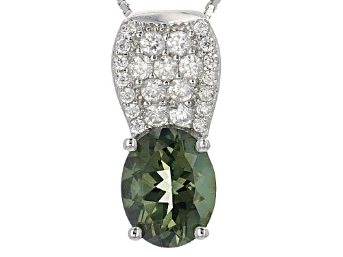 Photo of 1.96ct Oval Green Labradorite And .51ctw Round White Zircon Sterling Silver Pendant With Chain