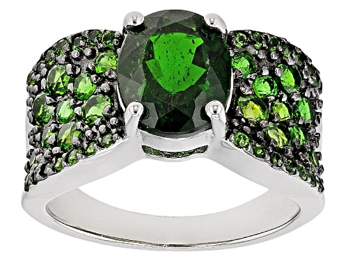 Photo of 3.50ctw Oval And Round Russian Chrome Diopside Sterling Silver Ring - Size 12
