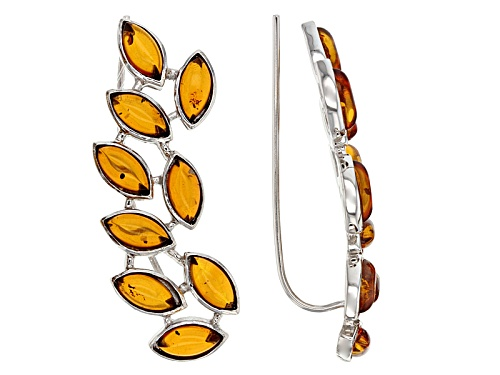 Photo of 8x4mm Marquise Cabochon Yellow Amber Sterling Silver Climber Earrings