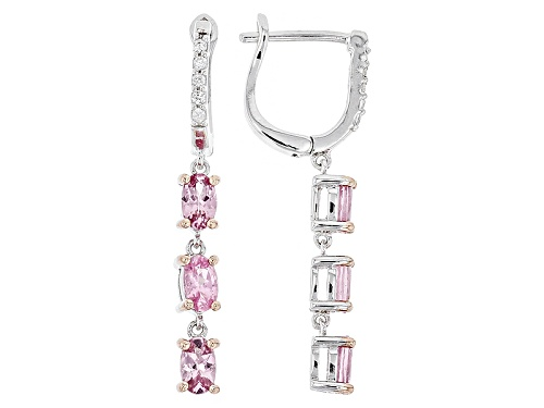 Photo of 1.49ctw Oval Burmese Pink Spinel And .12ctw White Zircon Sterling Silver 3-Stone Dangle Earrings