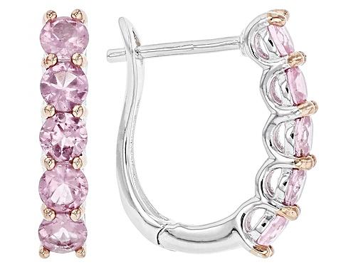 Photo of 1.53ctw Round Burmese Pink Spinel Sterling Silver Huggie J-Hoop Earrings