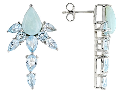 Photo of 10x7mm Pear Shape Larimar Cabochon, 4.49ctw Pear Shape And Round Glacier Topaz™ Silver Earrings