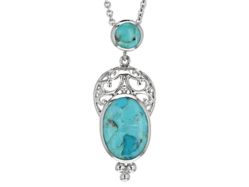 Photo of 16x11.5mm Oval And 6.5mm Round Cabochon Turquoise Sterling Silver Slide With Chain
