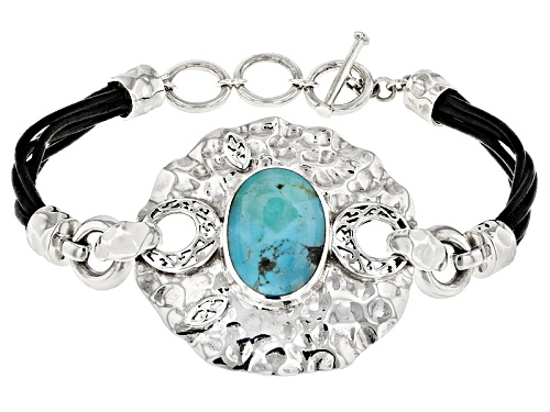 Photo of 19.6x13.6mm Oval Turquoise Sterling Silver With Black Leather Strap Bracelet - Size 7.25
