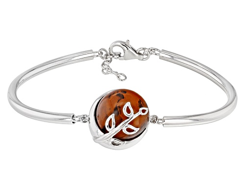 Photo of 15mm Round Cabochon Orange Amber Sterling Silver Bracelet - Size 7.25