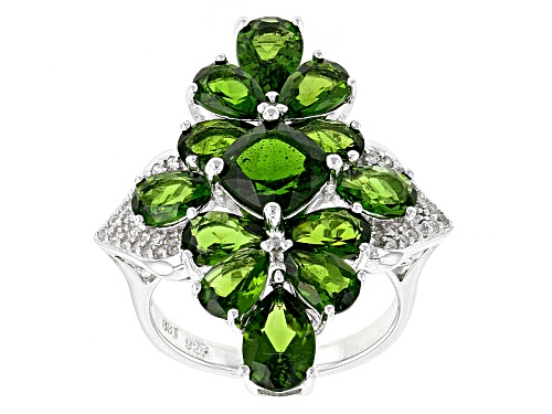 Photo of 6.92ctw Square Cushion & Pear Shape Russian Chrome Diopside With .27ctw White Zircon Silver Ring - Size 6