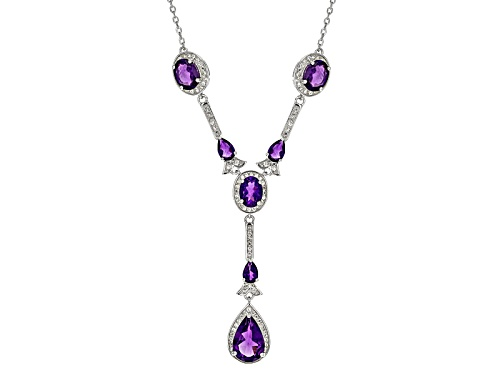 Photo of 8.20ctw Pear Shape And Oval African Amethyst With 1.30ctw Round White Zircon Silver Y Necklace - Size 18