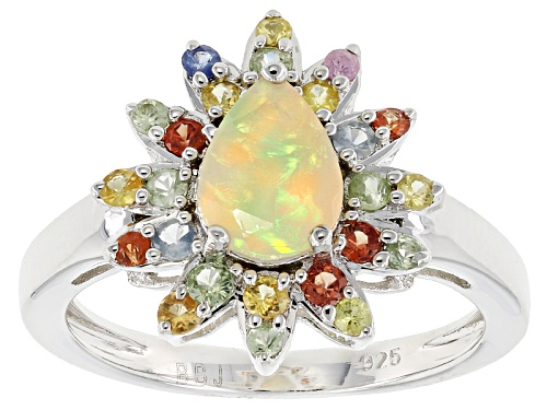 Photo of .57ct Pear Shape Ethiopian Opal With .84ctw Round Sapphire Mix Sterling Silver Ring - Size 9