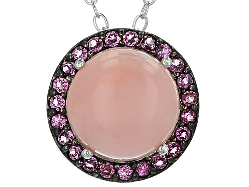 Photo of 9mm Round Peruvian Pink Opal And .18ctw Round Raspberry Rhodolite Sterling Silver Slide With Chain