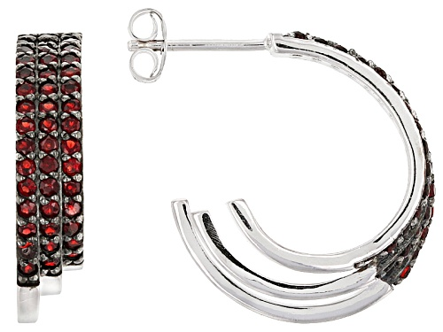 Photo of 1.40ctw Round Vermelho Garnet™ 3-Row Sterling Silver Hoop Earrings