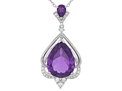 Photo of 7.08ctw Pear Shape African Amethyst With .31ctw White Zircon Sterling Silver Pendant With Chain