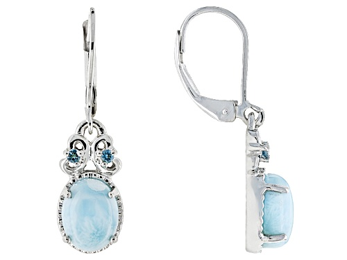 Photo of 9x7mm Oval Larimar Cabochon And .11ctw Round Swiss Blue Topaz Sterling Silver Dangle Earrings