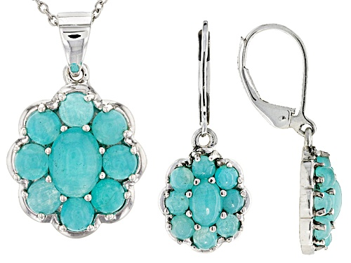 Photo of Oval And Round Cabochon Amazonite Sterling Silver Floral Pendant And Earrings Set