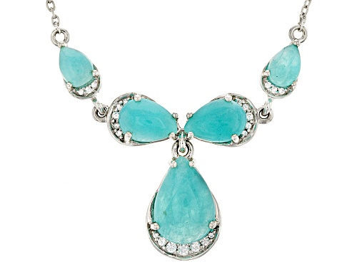 Photo of 14x10mm, 10x7mm And 7x5mm Pear Shape Amazonite With .32ctw Round White Zircon Silver Necklace - Size 18