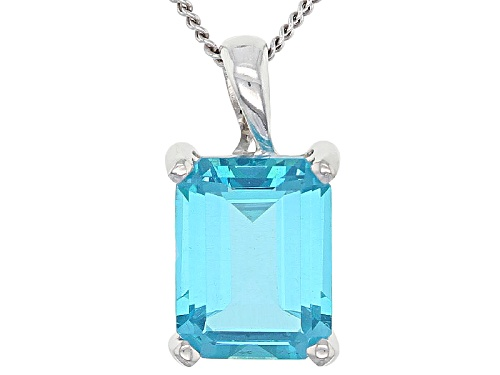 Photo of 2.25ct Emerald Cut Blue Paraiba™ Mystic Topaz® Sterling Silver Pendant With Chain