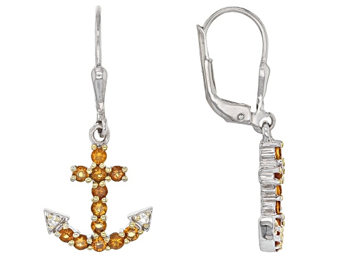 Photo of .72ctw Round Brazilian Citrine And .06ctw Round White Topaz Sterling Silver Anchor Dangle Earrings