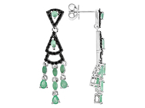 Photo of 1.42ctw Mixed Shape Sakota Emerald With .73ctw Round Black Spinel Sterling Silver Dangle Earrings