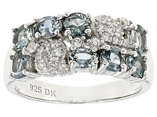 Photo of 1.39ctw Platinum color Spinel With .23ctw Round White Zircon Rhodium Over Silver Band Ring - Size 8
