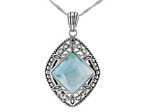 Photo of 16x16mm Square Larimar Cabochon Sterling Silver Pendant With Chain