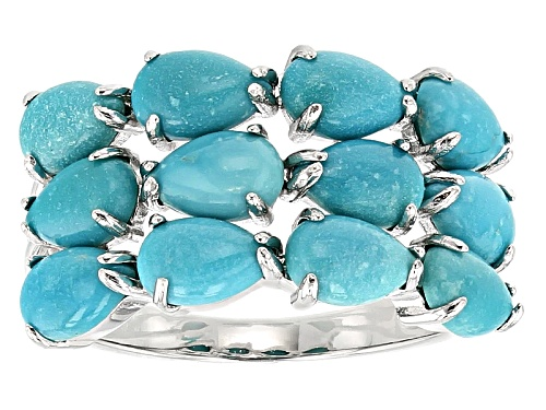 Photo of 6x4mm Pear Shape Cabochon Sleeping Beauty Turquoise Sterling Silver Band Ring - Size 7