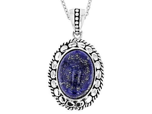 Photo of 16x12mm Oval Cabochon Lapis Lazuli Sterling Silver Pendant With Chain