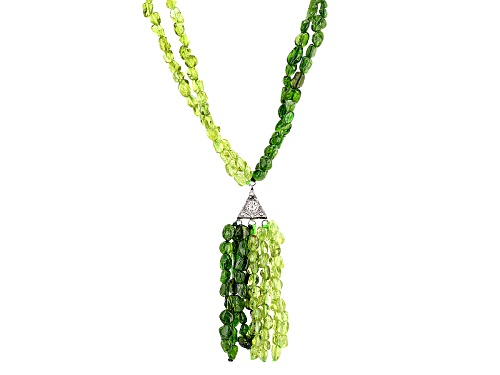 Photo of Manchurian Peridot™ And Chrome Diopside Chip Silver Tassel Necklace - Size 20