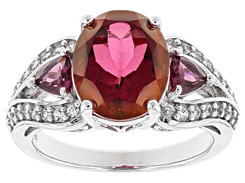 Photo of 3.85ct Oval Peony™ Mystic Topaz®, .62ctw Trillion Rhodolite And .35ctw White Zircon Silver Ring - Size 7