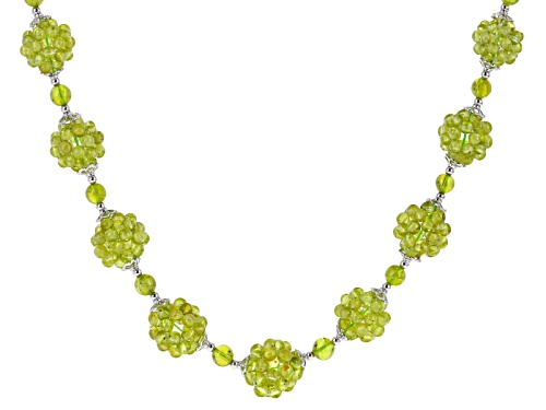 Photo of 3-5mm Round Manchurian Peridot™ Sterling Silver Beaded Necklace - Size 20
