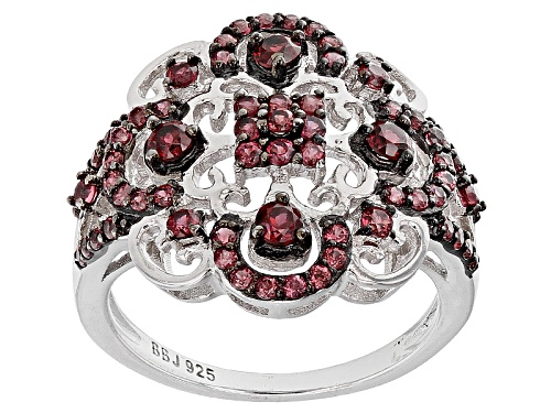 Photo of 1.33ctw Round raspberry color Rhodolite Garnet Sterling Silver Ring - Size 6