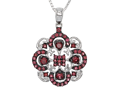 Photo of .81ctw Round Raspberry Color Rhodolite Sterling Silver Pendant With Chain